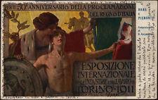 cartolina ESPOSIZ.INTERNAZ. INDUSTRIE E LAVORO TORINO 1911 illustr. CARPANETTO
