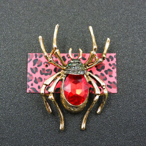 Lady Red Rhinestone Cute Spider Crystal Betsey Johnson Charm Brooch Pin