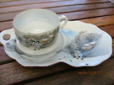 Vintage Japanese Egg Shell Porcelain Cup & Matching Plate - Hand Painted  Signed