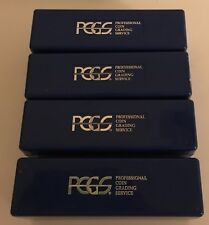 Lot of 4 Blue Plastic PCGS Slabbed 20 Coin Storage Box Pre- Owned No Tape GC