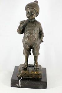 Bronze Junge Figur Sculpture Bayer Bronzefigur Schmidt Felling raucher