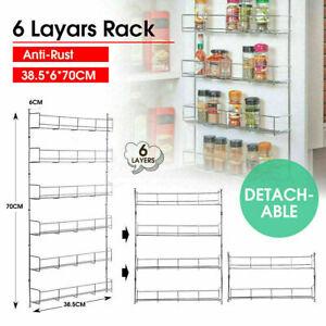 6 Tier Home Spice Jar Rack Kitchen Cupboard Door Wall Storage Organiser Racks