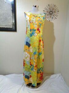 VINTAGE ALICE POLYNESIAN FASHIONS ORANGE/GREEN/BLUE FLORAL HAWAIIAN MAXI DRESS