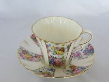 ROYAL ALBERT - Floral Panels with Gold Accents CUP & SAUCER SET - 1208