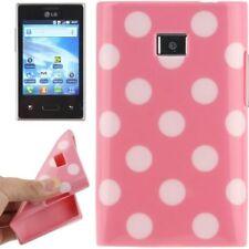 TPU Case für LG E400 Optimus L3 in rosa mit weißen Punkten Etui Hülle Cover