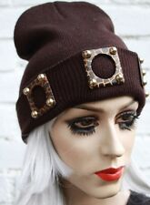 ANIMAL PRINT STUD BROWN BEANIE HAT STREET HIPSTER BEENIE KAWAII FESTIVAL