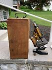 """Vintage Spencer Lens Co Microscope With Wooden Case 0.65lens & 1"""" Bausch lombb"""
