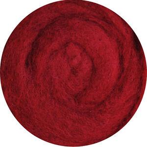 Carded Roving Wool Felting Spinning Wet Craft Hand VK3013 - Red Violet Claret