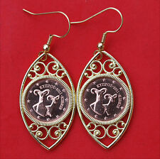 2011 Cyprus 1 Euro Cent Two Mouflon Rams BU Unc Coins Gold Plated Earrings NEW