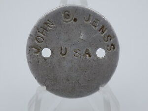 Original WWI US Army Dog Tag Set - John Jenss - Early War Issue