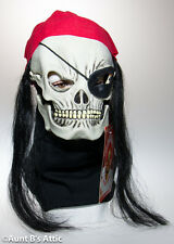 Skull Pirate Mask Jolly Roger Latex Mask With Hair & Bandanna Halloween Mask