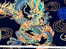 RPFTP028 Japanese Asian Dragon Fire Cloud Daiwabo Dark Blue Cotton Quilt Fabric