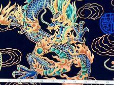 RPFTP028 Japanese Asian Dragon Fire Cloud Daiwabo Dark Blue Cotton Quilt Fabric