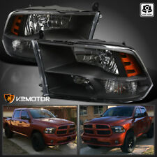 2009-2018 Dodge Ram 1500/2500/3500 Black Quad Headlights Lamps Left+Right