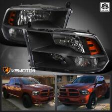 2009-2018 Dodge Ram 1500/2500/3500 Black Quad Headlights Lamps Left+Right