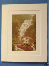 TORC WATERFALL KILLARNEY LAKES SUPERB QUALITY 1879 ANTIQUE DOUBLE MOUNTED PRINT