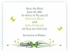 100 Personalized Custom Green Butterfly Bridal Wedding Save The Date Cards