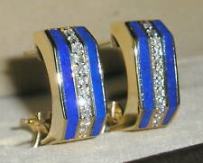 SOLID     14K Gold    LAPIS    DIAMOND   Earrings