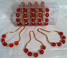 2 Boxes of Decorative Shower Curtain hooks Brass with Crystal/ created beads