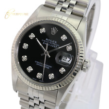 Rolex Men's Datejust 16014 Stainless Steel Black Dial Fluted Bezel  36mm Watch