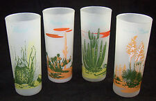 4 Frosted Blakely Glasses Arizona Prickly Pear Organ Pipe Yucca Cactus Barrel