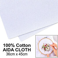SEW EASY White Cross Stitch Aida Cloth 14 Count 100% Cotton Fabric 36x45cm