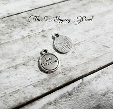 Quote Charms Word Charms JUST BREATHE 14mm Antiqued Silver Inspirational Words