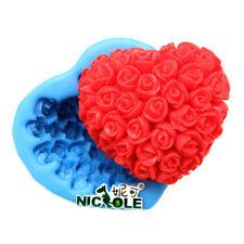 Rose Soap Mould Silicone Moulds Heart Cake Decorating Tools Chocolate Craft Clay