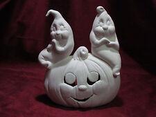 Ceramic Bisque 2 Ghosts sitting on a Pumpkin U Paint Halloween