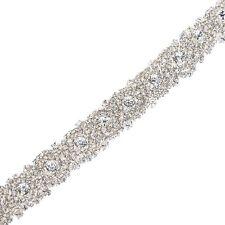 1 Yard Wedding Bridal Handmade Dazzling Rhinestone Applique Crystal Trim Belt