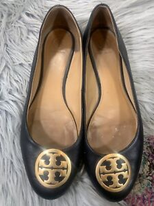 Napa Leather TORY BURCH Black BENTON Logo Ballet Flats Shoes sz 10
