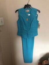 Alberto Makali Embroidered Vest Pants Suit Set Blue Color Size 6 Made In USA