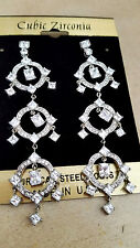 BRIDAL & SPECIAL OCASSION PLATINUM REFINED CUBIC ZIRCON DANGLE EARRINGS USA