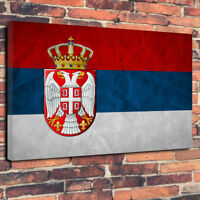 "Abstract Serbian Flag Printed Box Canvas Picture A1.30""x20""30mm Deep Serbia"