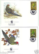 First Day Covers - Norfolk Islands (1987) - WWF Parrots - Set of 4 FDCs