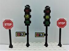 Lego City Town Custom 2 Traffic Lights w/Pedestrian crossing. 2 STOP Signs