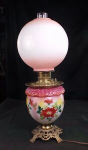 GONE WITH THE WIND STYLE LAMP HAND PAINTED FLORALS