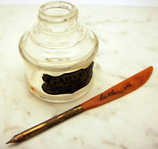 Antique Ink Bottle Well Set Catalin Garvey Dip Pen Bakelite Upper Brass