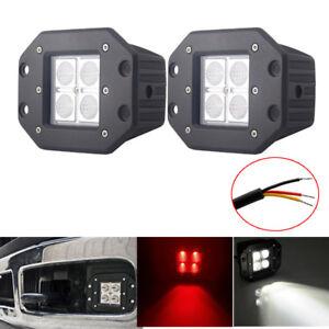 """2x 5"""" Flush Mount Pods Red/White Dual Color LED Work Light Bar Flood Beam Fog"""