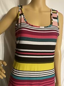 Planet Gold Sleeveless Nightgown Striped Colorful Large