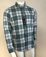 Michael Kors Dress Shirt Button Up Green Plaid Men Size Small