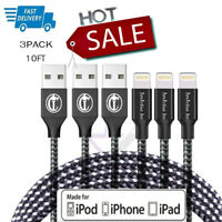 3Pack 10 Ft Lightning Cable Heavy Duty For Iphone x 8 7 6 Charger Charging Cord
