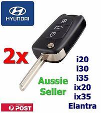 2x Hyundai i30 i20 Elantra 3 Button Flip Key Replacement Remote Case/Shell/Blank