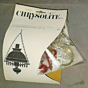 12 Volt Miniature Dollhouse VICTORIAN HANGING LAMP Chrysolite 1:12 Scale Red NOS