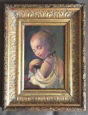 Portrait jeune femme à l'oiseau, étude contemporaine, huile, cadre lauriers 19e