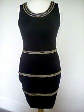 H&M black bodycon dress chain detail sleeveless S 8/10 evening party stretch