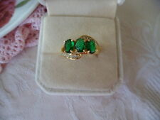 Antique Art Deco Vintage Gold Ring with Trio Emerald Green stones size 7 or O