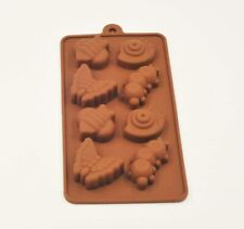 Brown 8 Cavity Silicone Insect Shaped Mould Tray Ice Soap Chocolate Cake Bugs