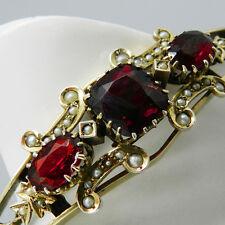 Antiker Silber Armreif mit Granat & Perlen um 1860  - B3385!