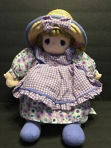 Precious Moments 2006 Sam B Soft Plush Doll w/ Straw Hat & Purple Dress Ripped